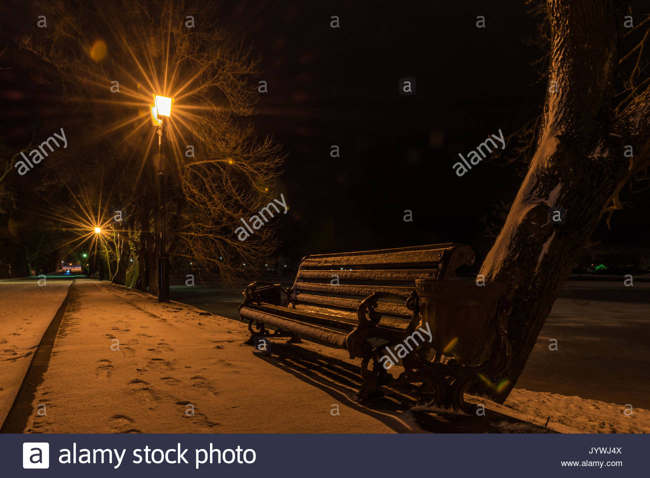 View of the bench on the illuminated winter park alley at night. Expectation. Possible date. - Stock Image