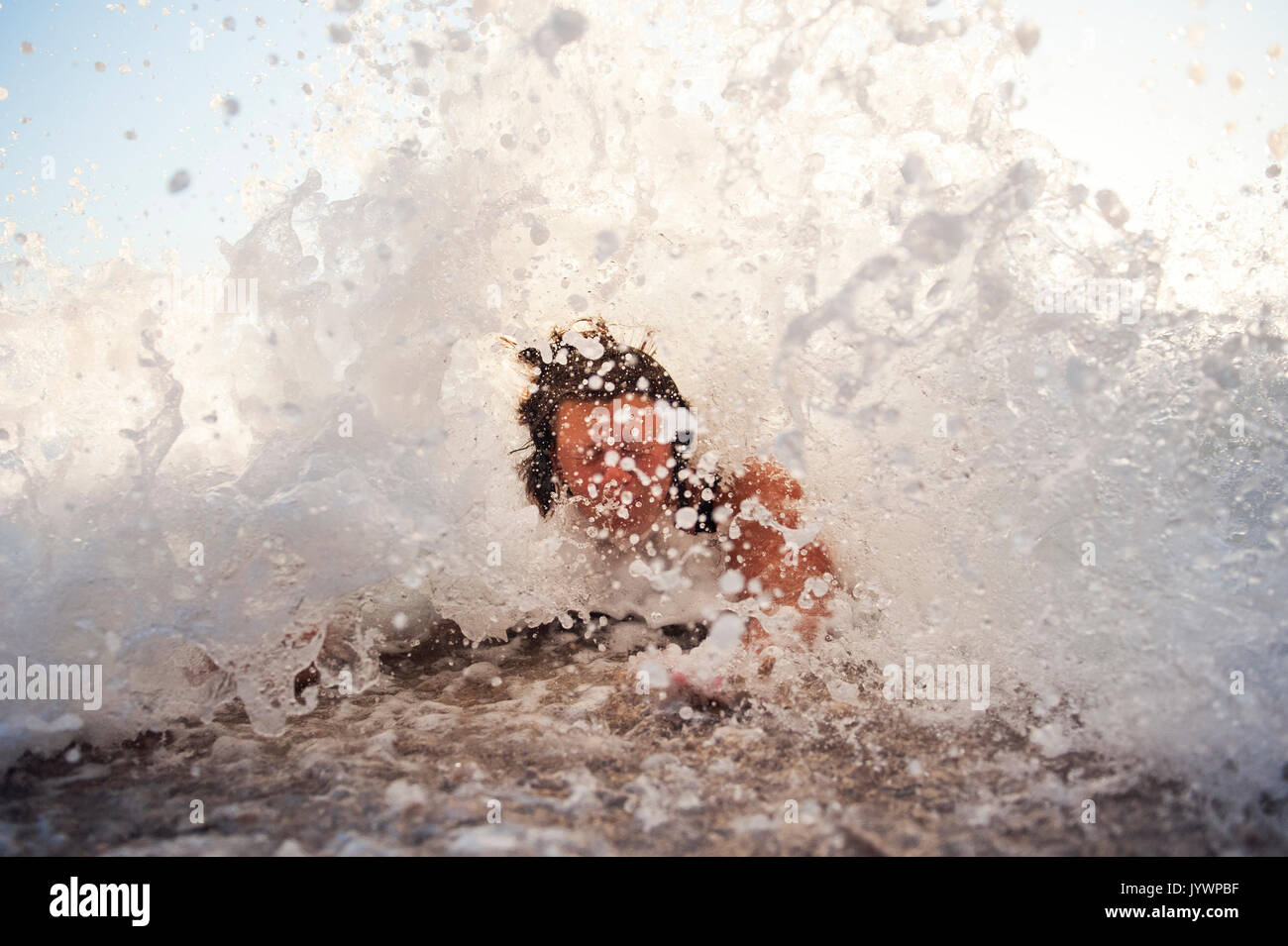 wet hair in a wave - Stock Image