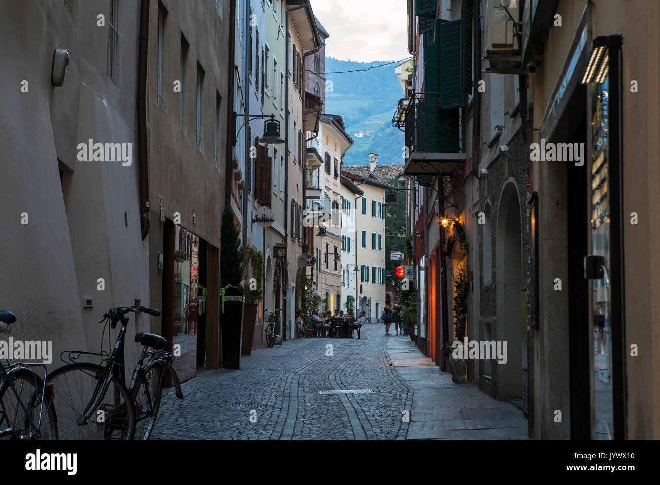 BOLZANO, ITALY - JUNE 24, 2017: Bolzano is a city in the South Tyrol province of north Italy, set in a valley amid hilly vineyards. - Stock Image