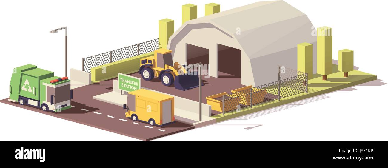 Vector low poly waste transfer station - Stock Image