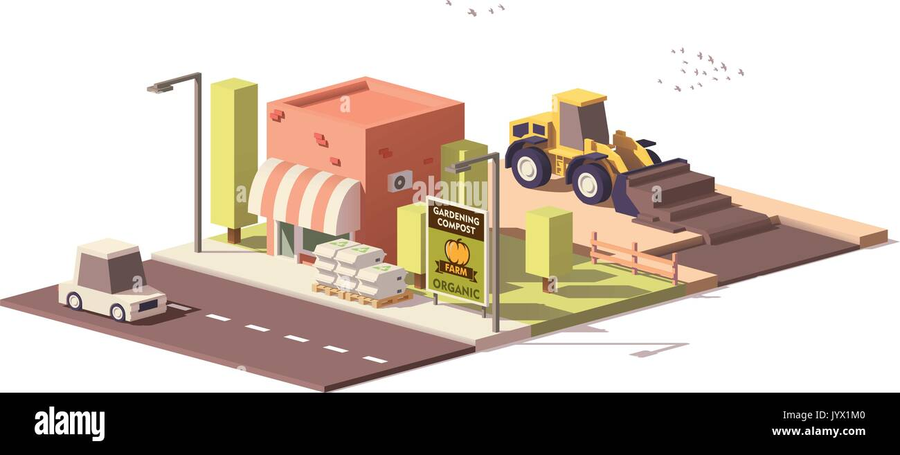 Vector low poly compost production - Stock Image