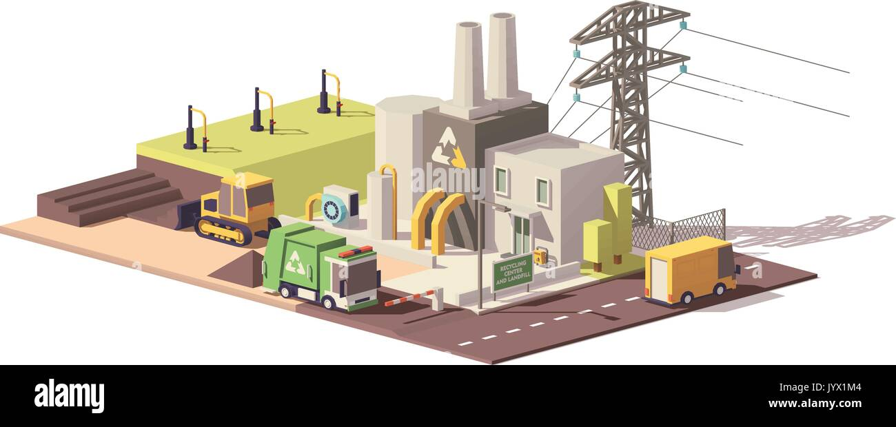 Vector low poly landfill gas collection plant - Stock Vector