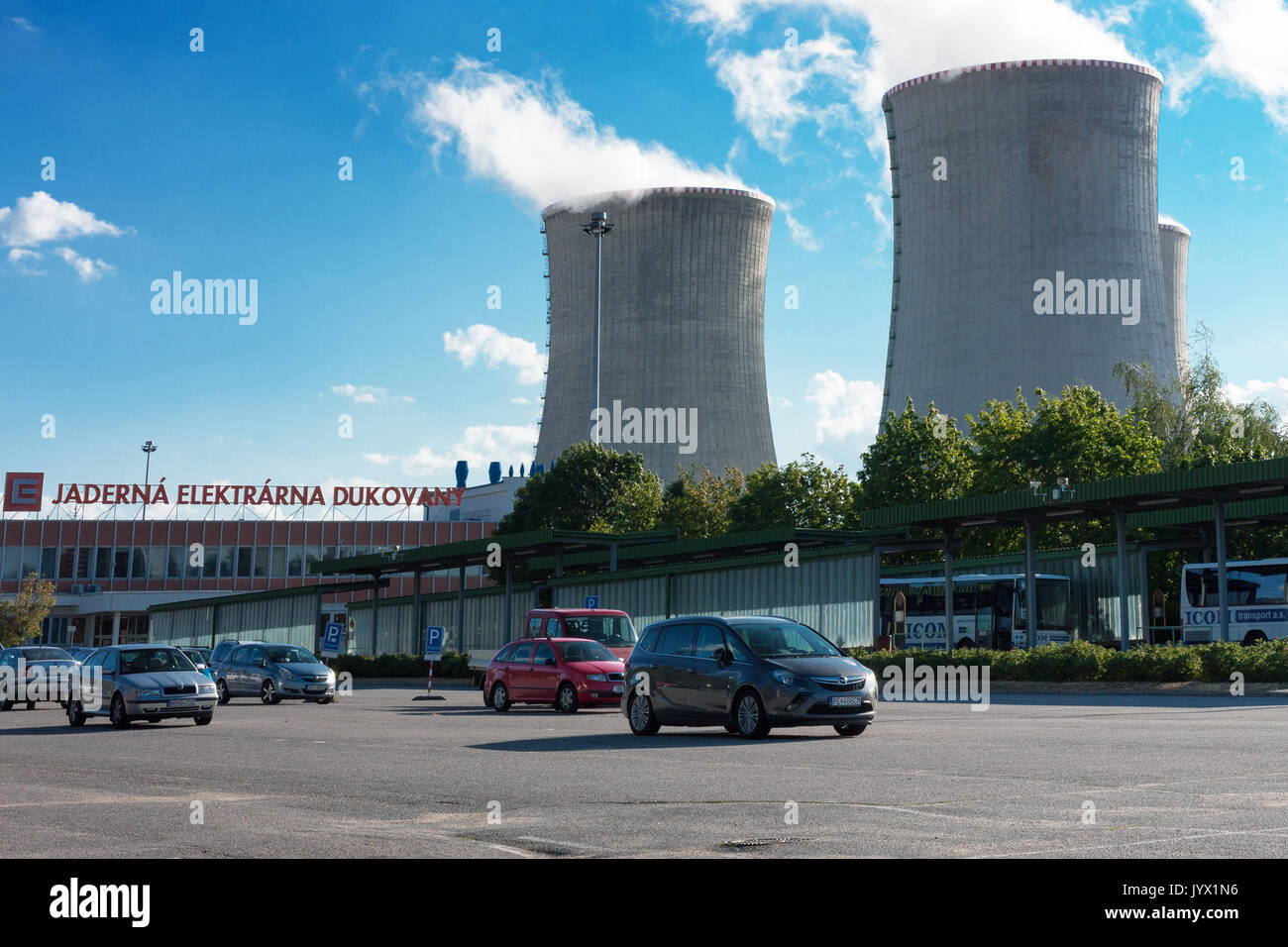 Dukovany, Czech Republic - July 7, 2017 : Parking space before entering the nuclear power station Dukovany on July 7, 2017 in Dukovany, Czech Republic - Stock Image