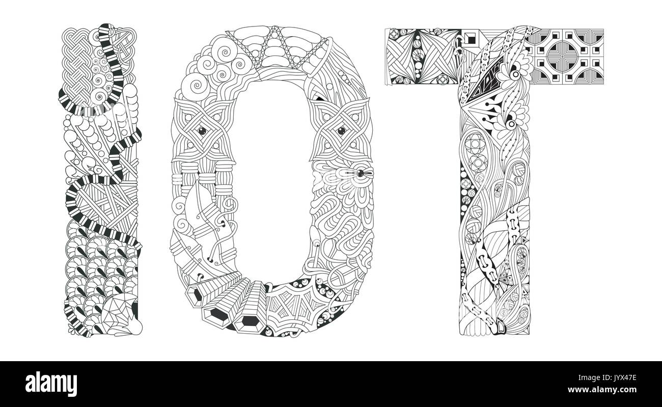 Abbreviation IOT for coloring. Vector decorative zentangle object - Stock Image