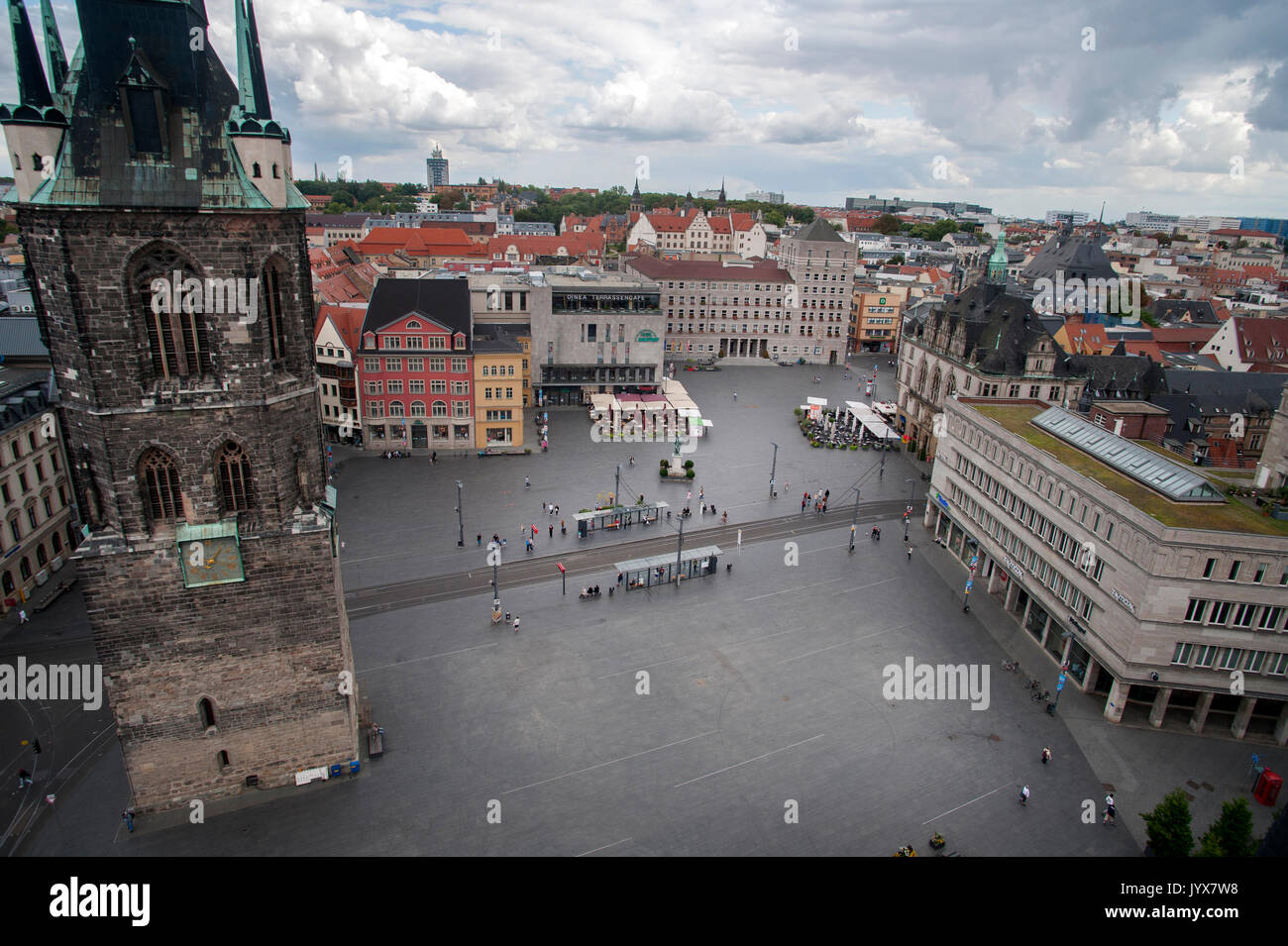 The Market Square of Halle (Saale) in Saxony-Anhalt, Germany - Stock Image
