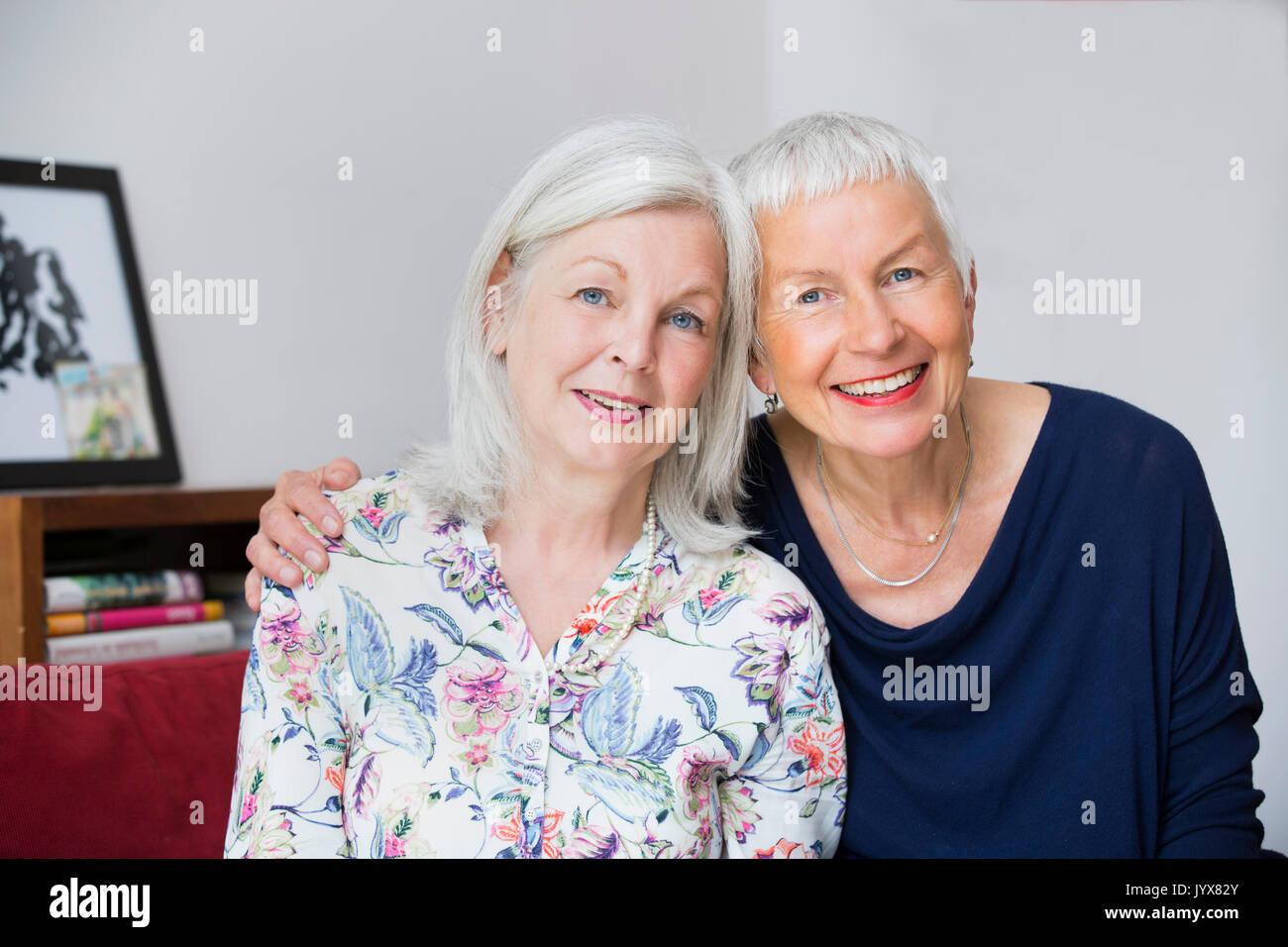 Portrait of two older women - Stock Image