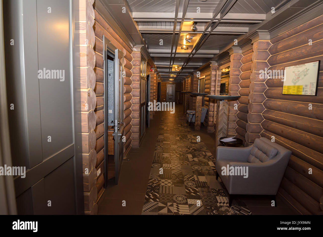 Log house interior - Stock Image