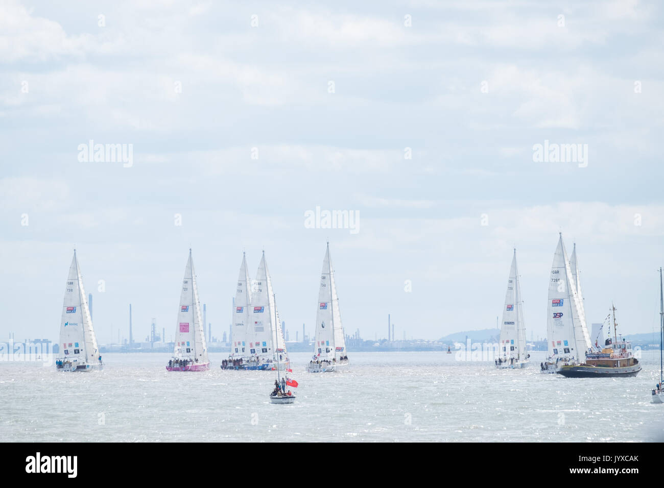 Liverpool, UK. 20th Aug, 2017. The Clipper Round the World Yacht Race began on the River Mersey in Liverpool on Sunday, August 20, 2017. The race involves 12 teams, sailing eight legs and a record breaking 40,000 nautical miles. The race will come to an end back in Liverpool in 2018. Credit: Christopher Middleton/Alamy Live News - Stock Image