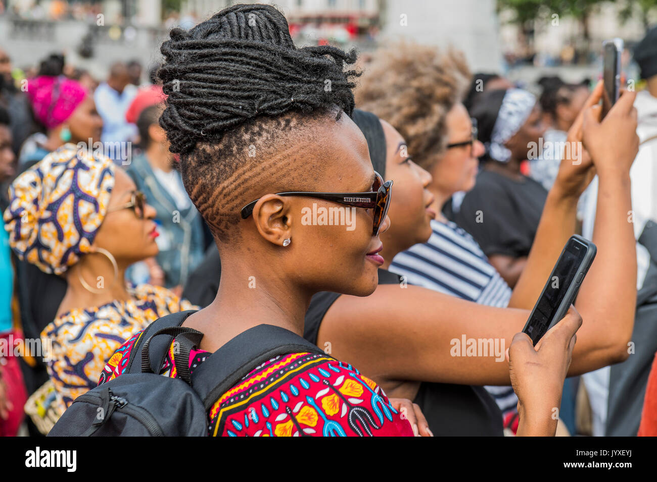 London, UK. 20th Aug, 2017. The crowd is multi ethnic but predominantly black and is entertained by thought provoking Stock Photo