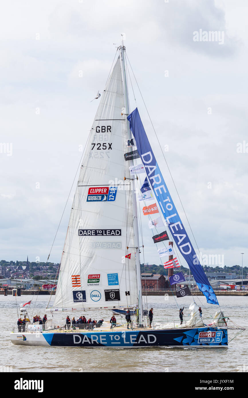 Liverpool, UK. 20th Aug, 2017. Dare to Lead prepare for the race start on the River Mersey.  The Clipper Race (now in its eleventh year) sees twelve global teams compete in a 40000 nautical mile around the world race on a 70 foot ocean racing yachts.  The teams left the host port of Liverpool on 20 August 2017 to begin their first leg – a 5200 mile mile journey lasting approximately 33 days to South America, taking in the Canary Islands & Doldrums along the way. Credit: Jason Wells/Alamy Live News - Stock Image