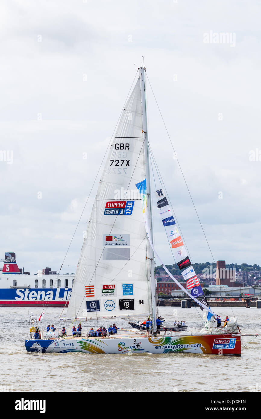Liverpool, UK. 20th Aug, 2017. Closeup of Team Sanya on the River Mersey.  The Clipper Race (now in its eleventh year) sees twelve global teams compete in a 40000 nautical mile around the world race on a 70 foot ocean racing yachts.  The teams left the host port of Liverpool on 20 August 2017 to begin their first leg – a 5200 mile mile journey lasting approximately 33 days to South America, taking in the Canary Islands & Doldrums along the way. Credit: Jason Wells/Alamy Live News - Stock Image