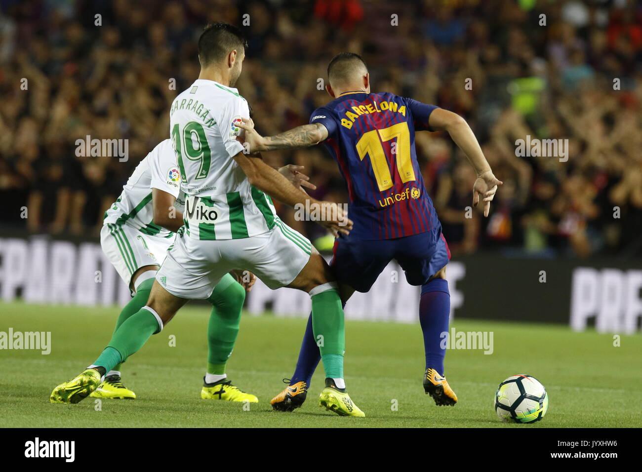 Paco Alcacer in action during La Liga game between FC Barcelona v Betis at Camp Nou - Stock Image