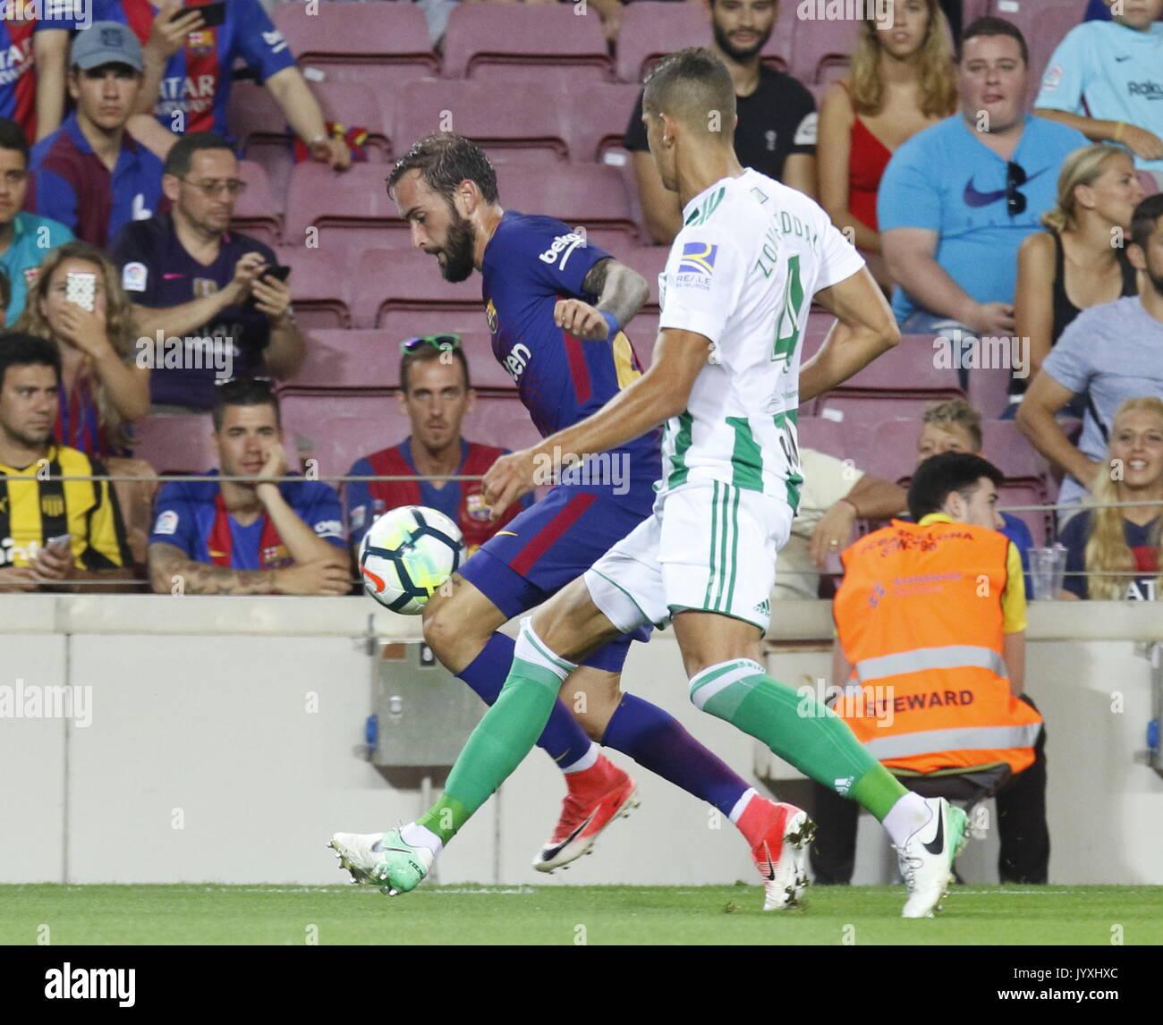 Aleix Vidal in action during La Liga game between FC Barcelona v Betis at Camp Nou - Stock Image