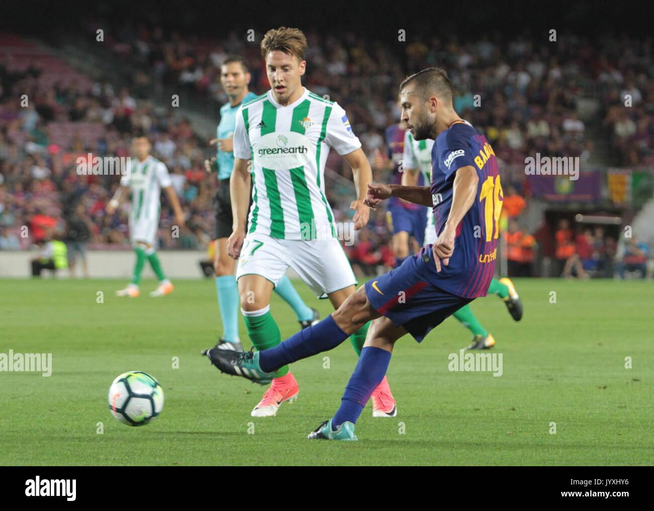 Jordi Alba in action during La Liga game between FC Barcelona v Betis at Camp Nou - Stock Image