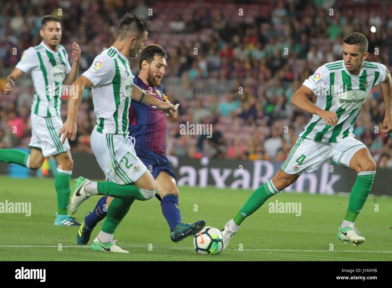 Leo Messi in action during La Liga game between FC Barcelona v Betis at Camp Nou - Stock Image
