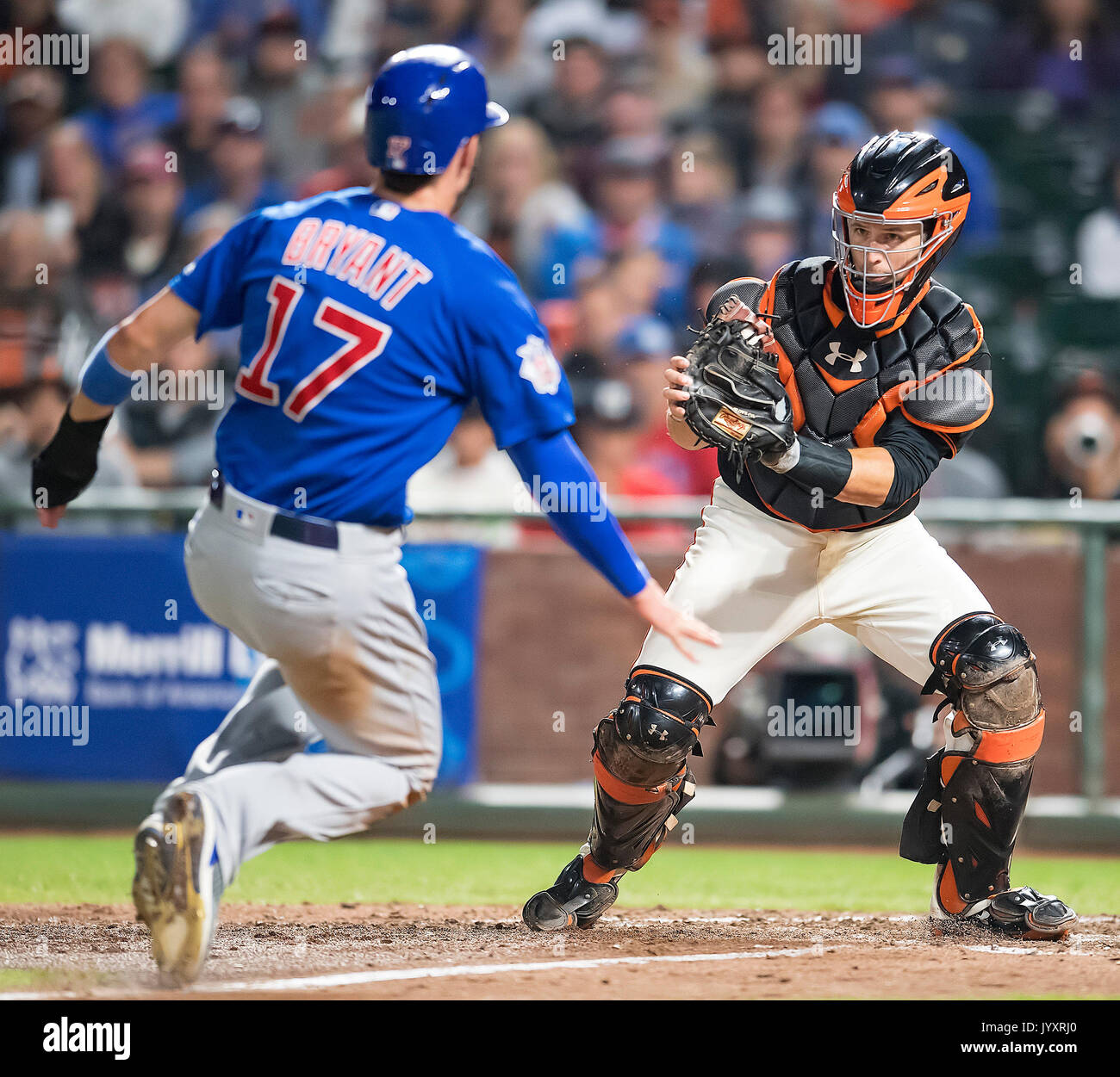 August 07, 2017: Chicago Cubs third baseman Kris Bryant (17) tagged out at home plate by Giants catcher Buster Posey (28) in the seventh inning, during a MLB game between the Chicago Cubs and the San Francisco Giants at AT&T Park in San Francisco, California. Valerie Shoaps/CSM - Stock Image