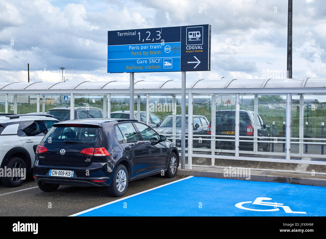 Airport parking stock photos airport parking stock images alamy paris france may 14 2017 charles de gaulle airport parking and direction kristyandbryce Image collections
