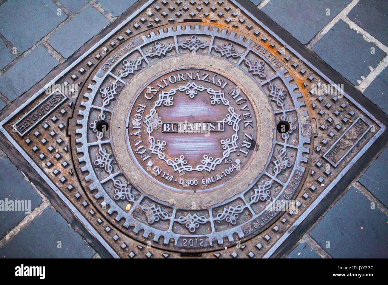 Decorative Metallic Drain Cover In Budapest Stock Photo