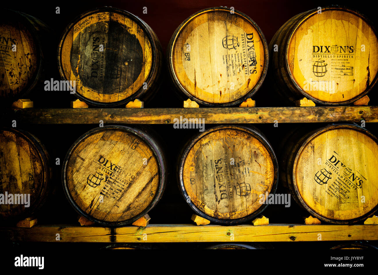 Oak wood aging Barrels in Distillery. Dixons Distilled Spirits Guelph Ontario Canada - Stock Image