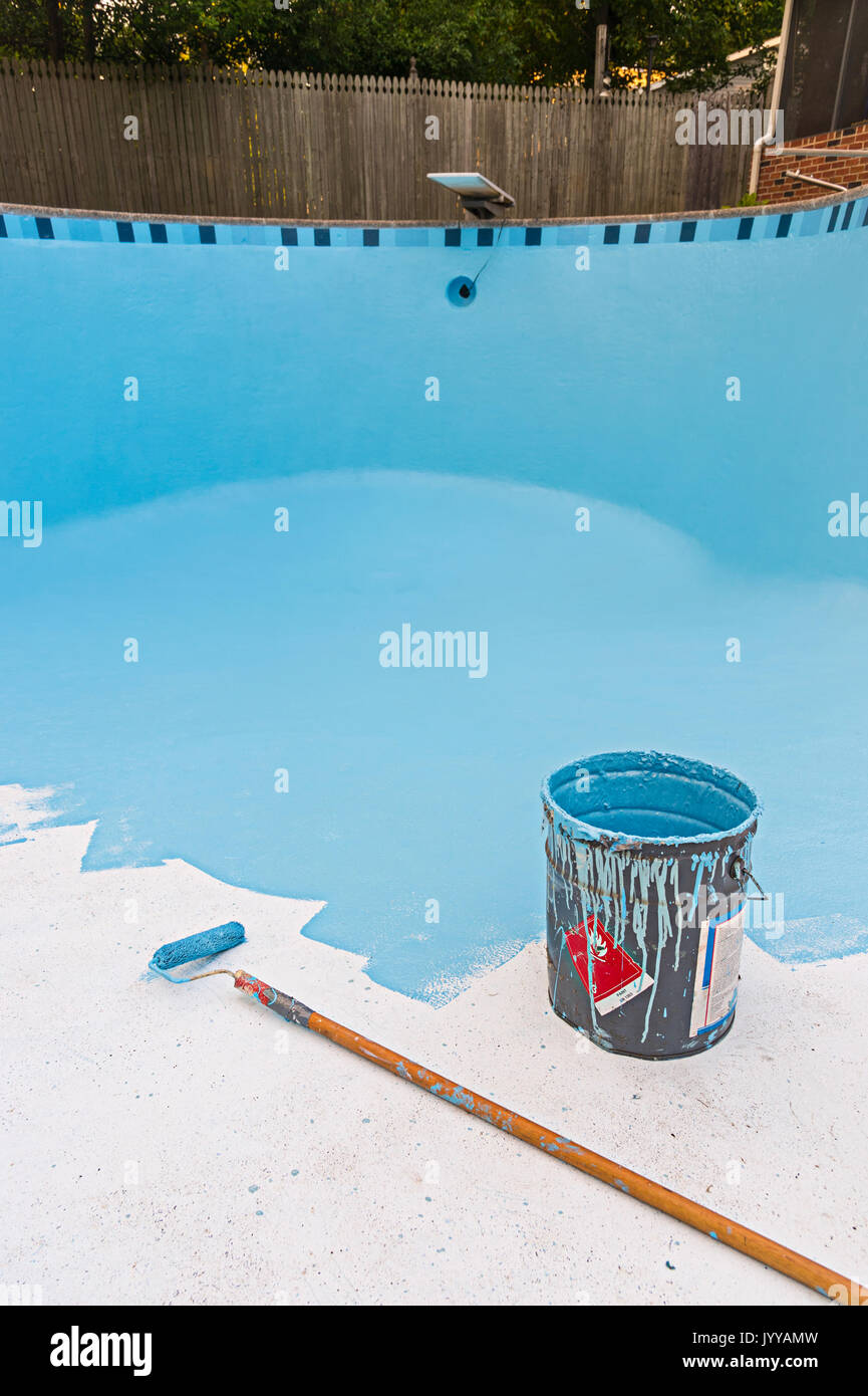 Fresh Coat Of Blue Paint In Swimming Pool Stock Photo ...