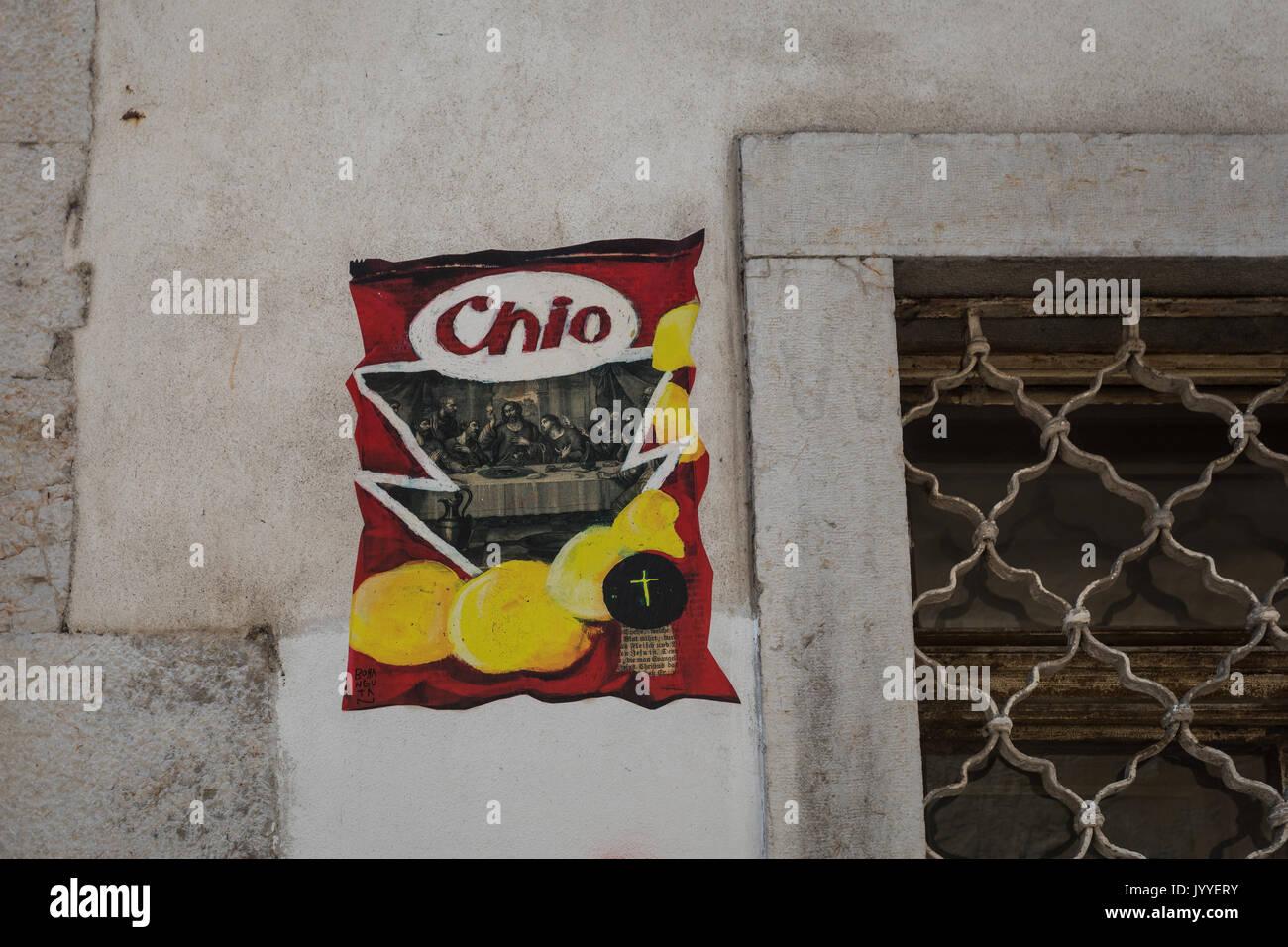 Chio Chips The Last Supper Graffiti Street Art In Ljubljana Stock Photo Alamy