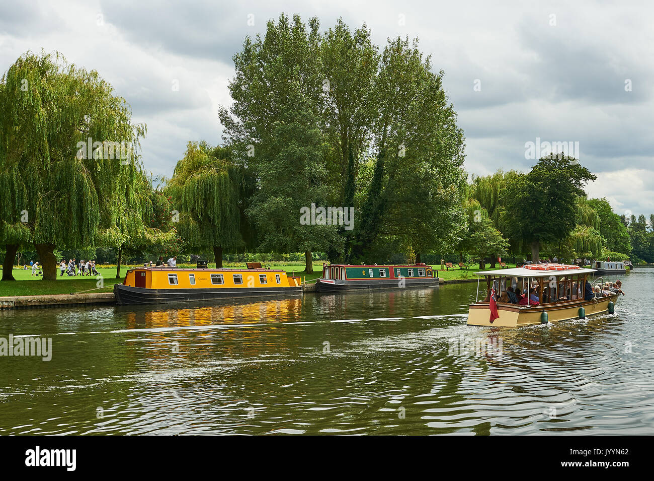 Stratford upon Avon and tourist boats on the River Avon. Stock Photo