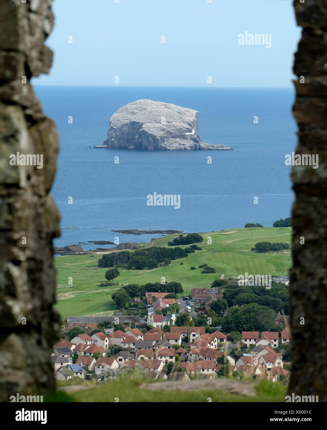 The Bass Rock, North Berwick East Lothian home to the largest colony of Northern Gannets in the world and is a site Stock Photo