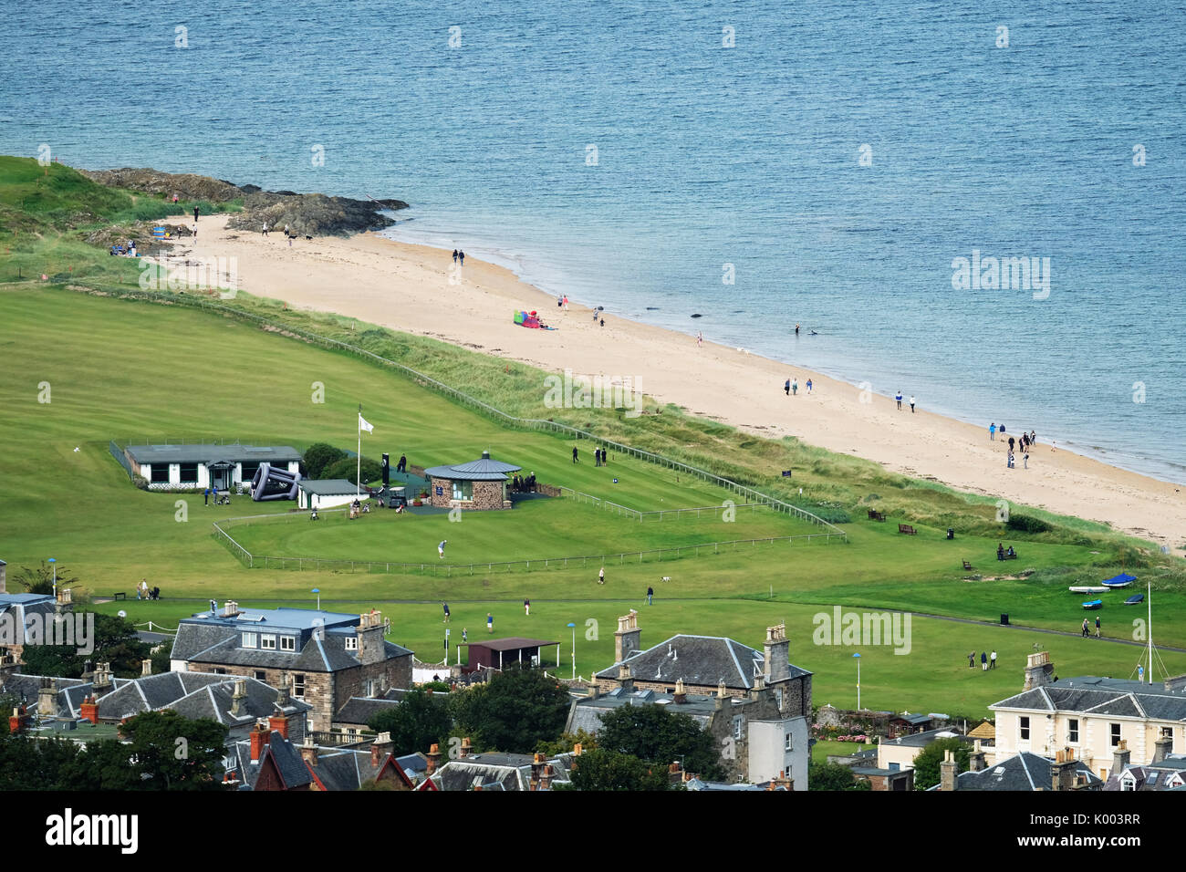 View from North Berwick Law looking down on the West Links golf course in North Berwick East Lothian, Scotland. - Stock Image