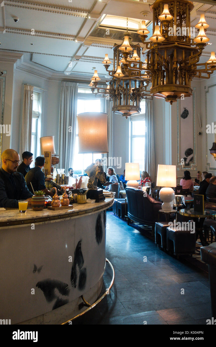 Interior view of The Langham Hotel, 1C Portland Pl, Marylebone, London W1B 1JA, UK - Stock Image