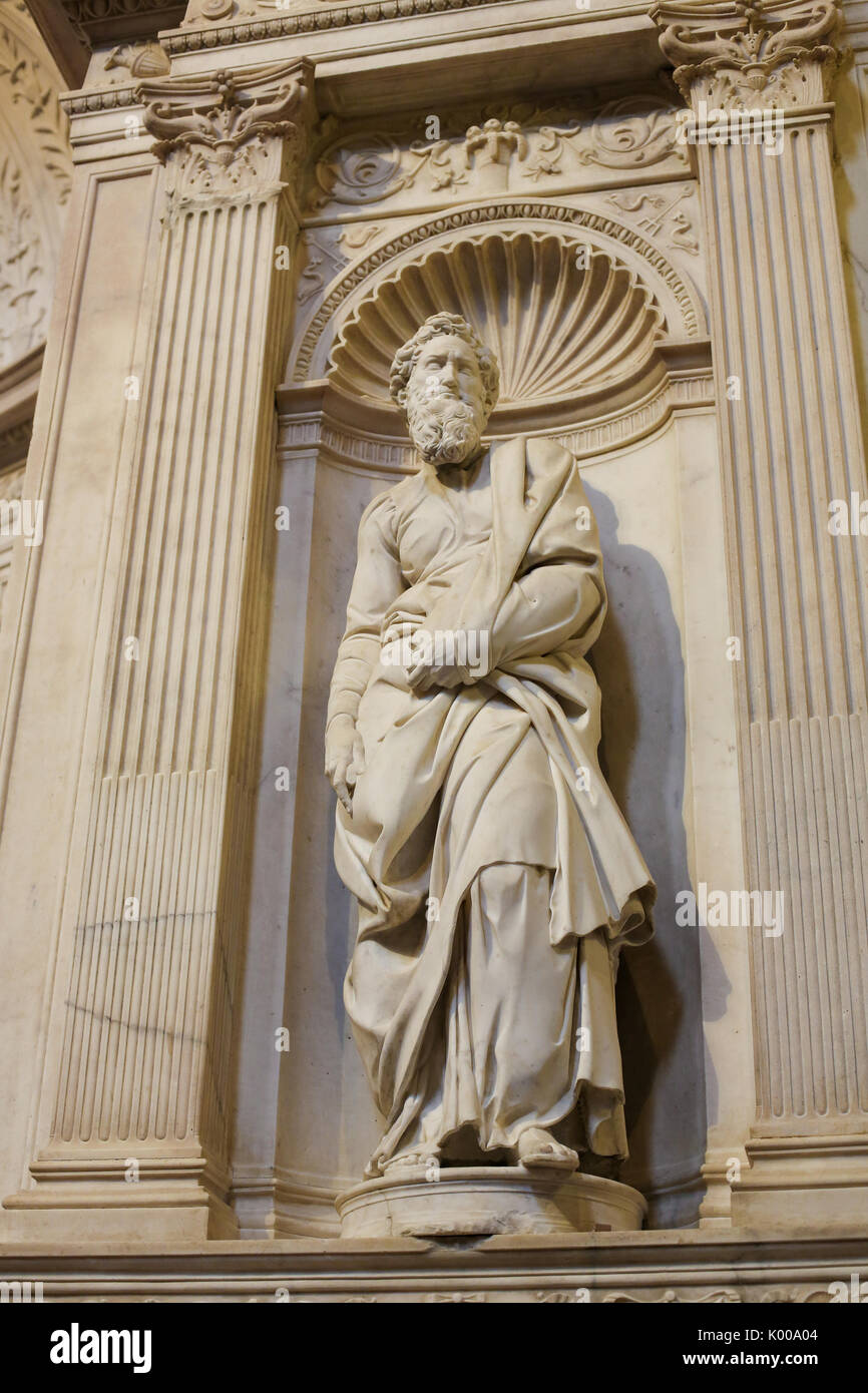 Statue Of Saint Paul Created By The Famous Renaissance Artist Michelangelo 15th Century In Cathedral Siena Tuscany Italy