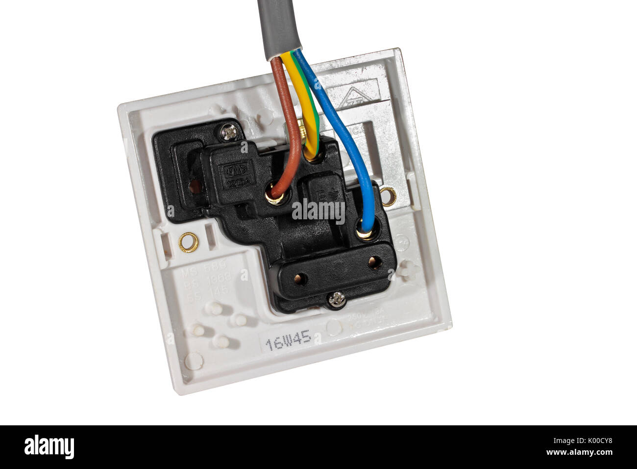 a 250v 13a electrical socket outlet viewed from behind showing rh alamy com