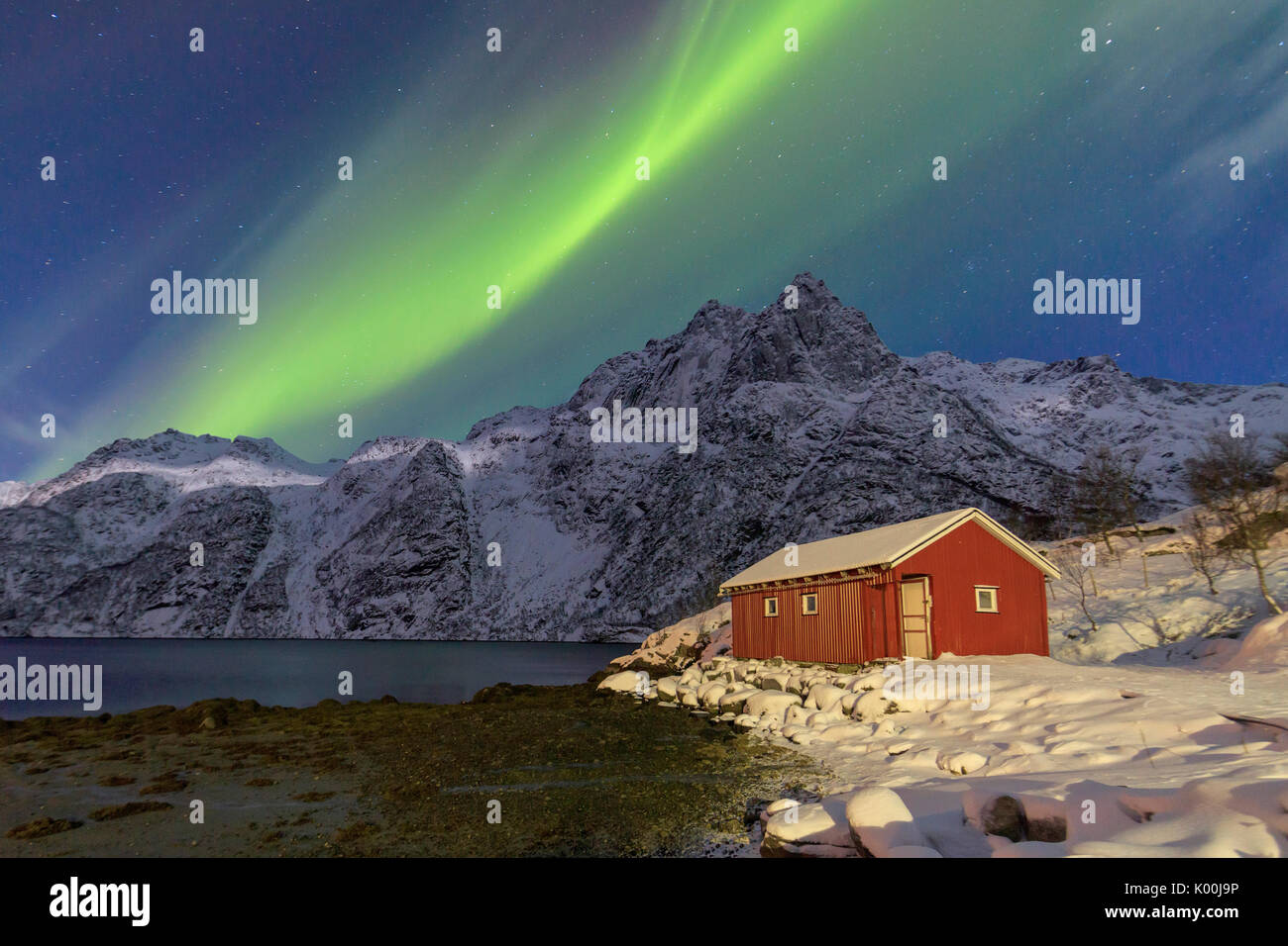 Northern Lights illuminate snowy peaks and the wooden cabin on a starry night at Budalen Svolvaer Lofoten Islands Stock Photo