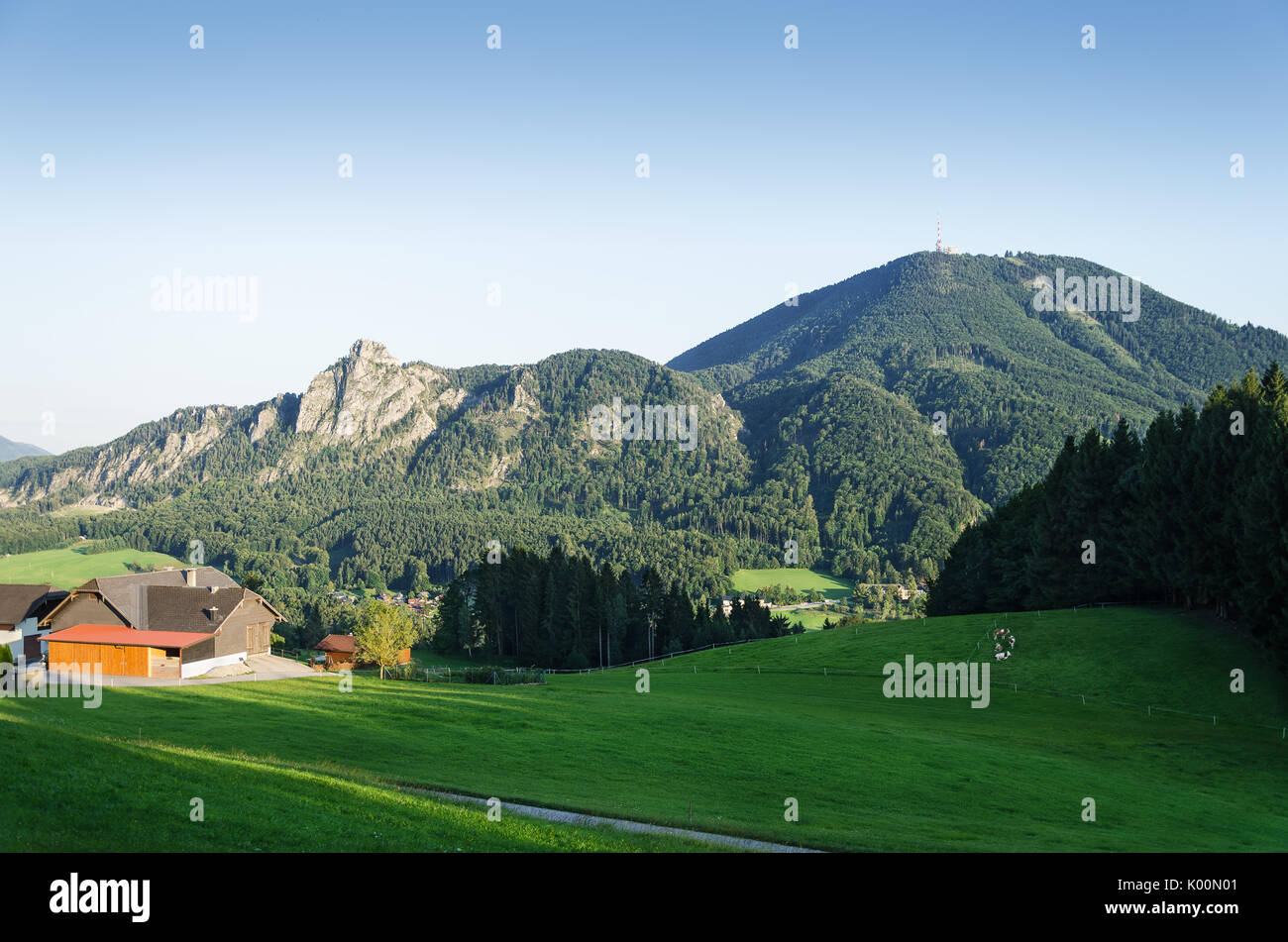 Gaisberg with Nockstein in Austria, Europe. Hausberg of Salzburg. View from Heuberg. Gaisberg belongs to Salzkammergut Mountains. - Stock Image