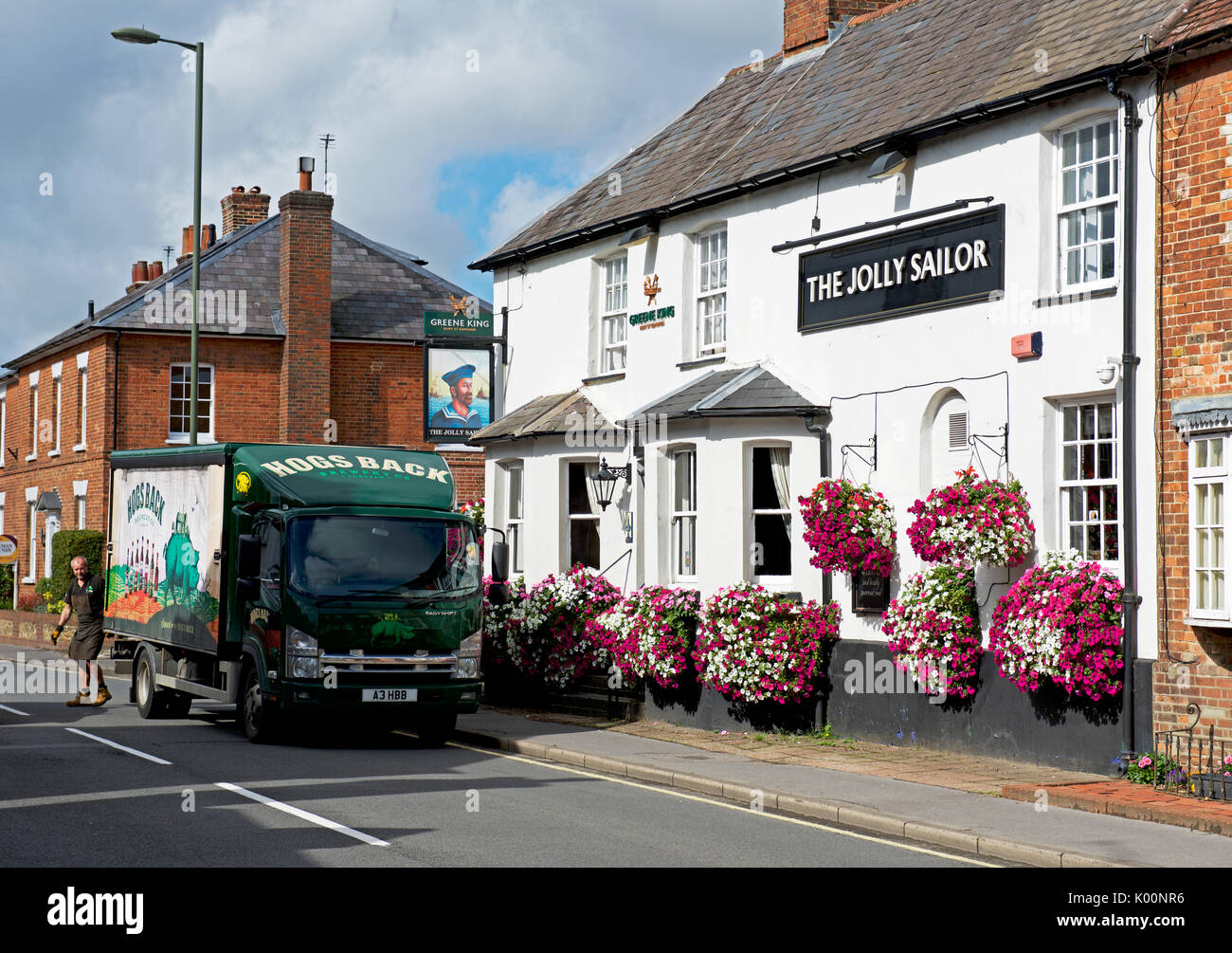 Beer delivery at the Jolly Sailor pub, West Street, Farnham, Surrey, England UK - Stock Image
