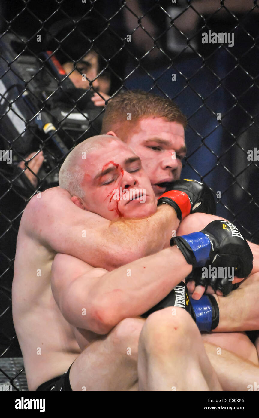 MMA cage fighter with a cut face struggles to free himself from a strangle hold. - Stock Image