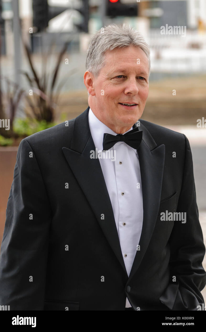 Belfast, UK. 30/03/2012 Peter Robinson arrives at Belfast's  £97M Titanic Visitors Centre for a pre-launch gala dinner - Stock Image