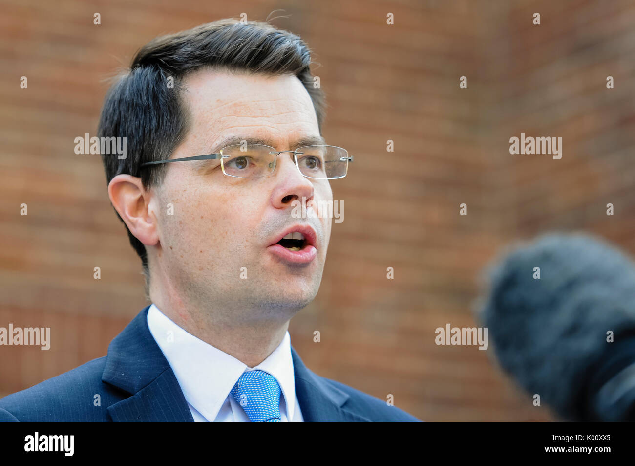 Belfast, Northern Ireland.  27/03/2017 - Secretary of State for Norhern Ireland, James Brokenshire, gives a press Stock Photo