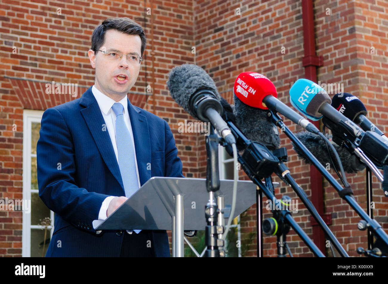 Belfast, Northern Ireland.  27/03/2017 - Secretary of State for Norhern Ireland, James Brokenshire, gives a press Stock Photo