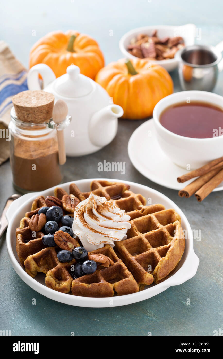 Pumpkin waffles with whipped cream and cinnamon - Stock Image