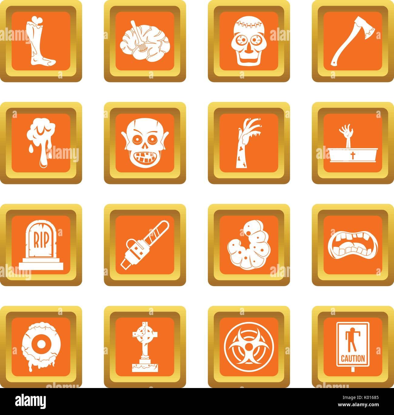 Zombie icons set orange - Stock Vector