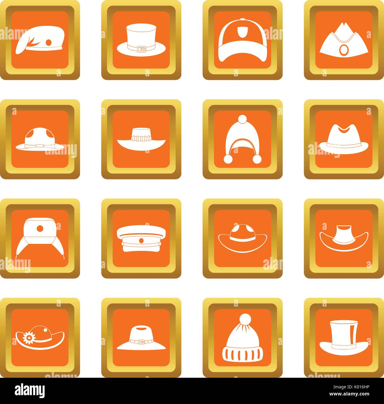 Headdress hat icons set orange - Stock Image