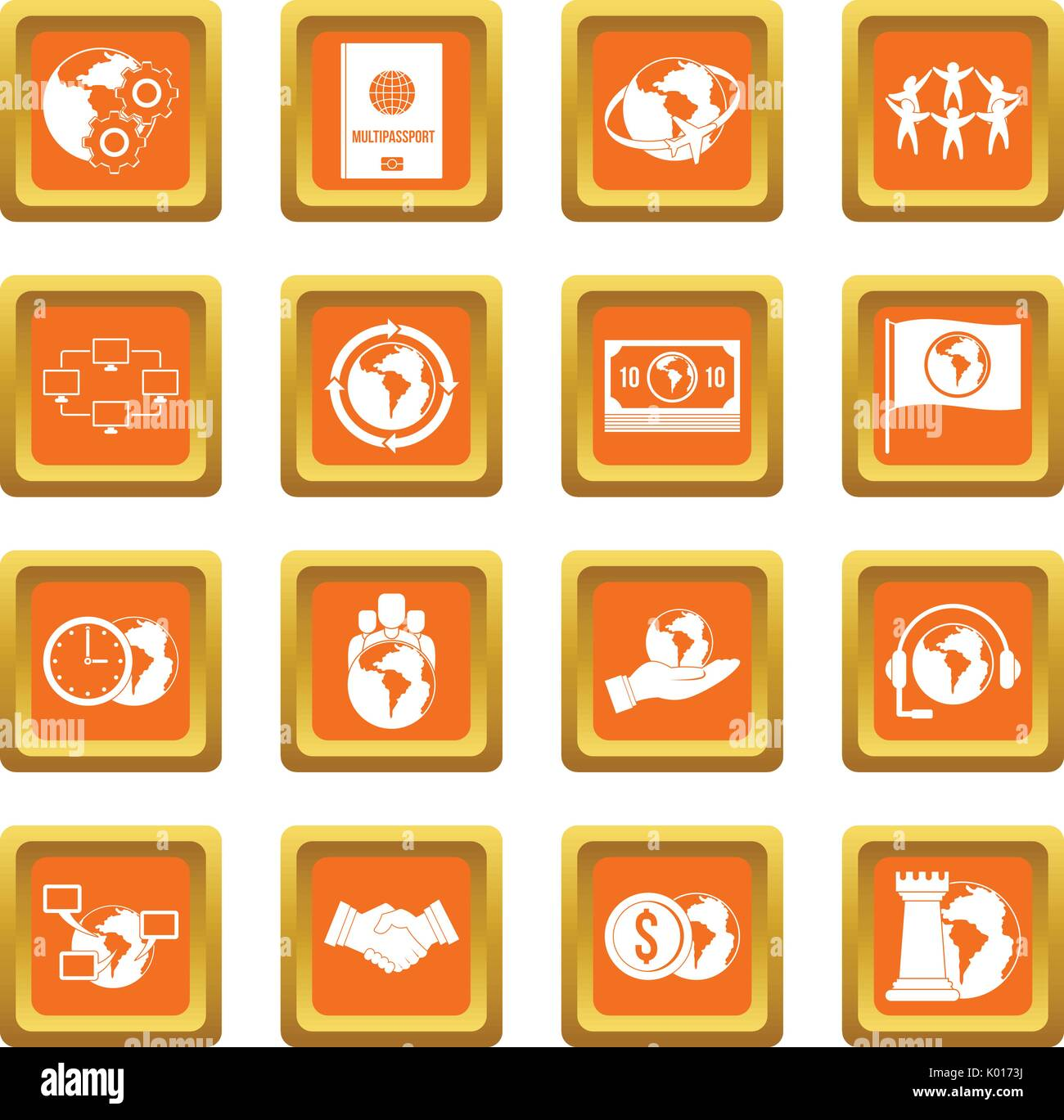 Global connections icons set orange - Stock Vector