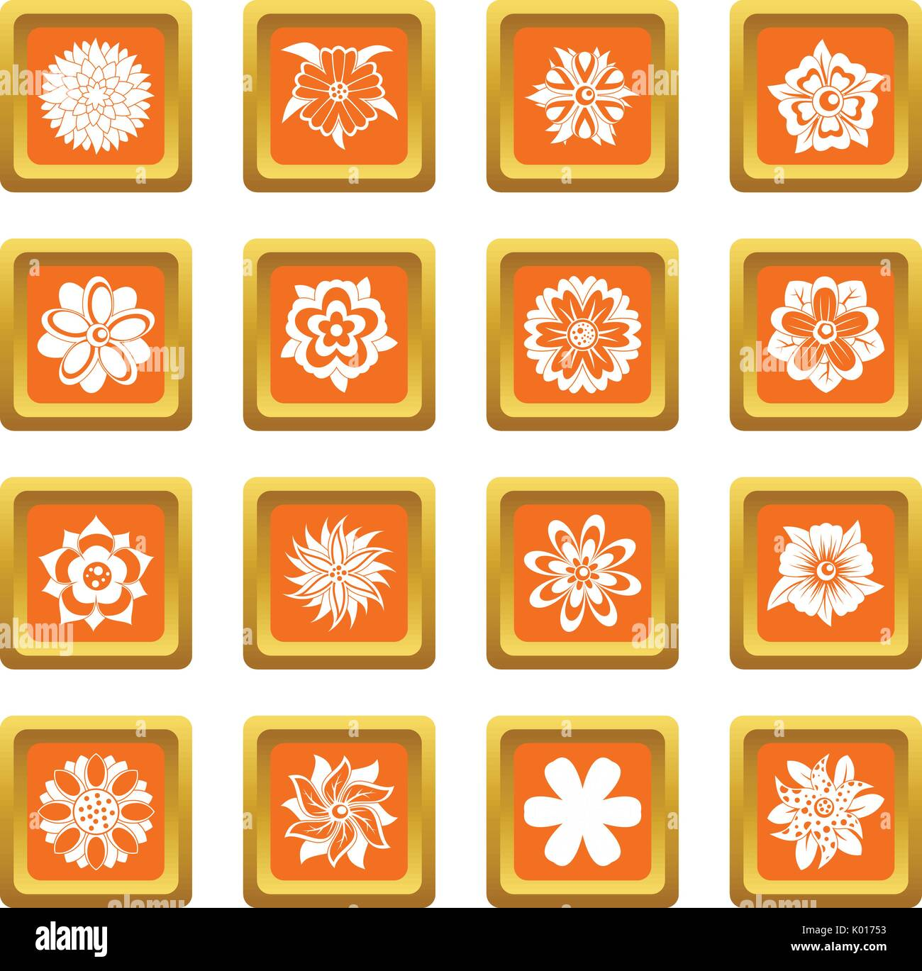 Different flowers icons set orange - Stock Image