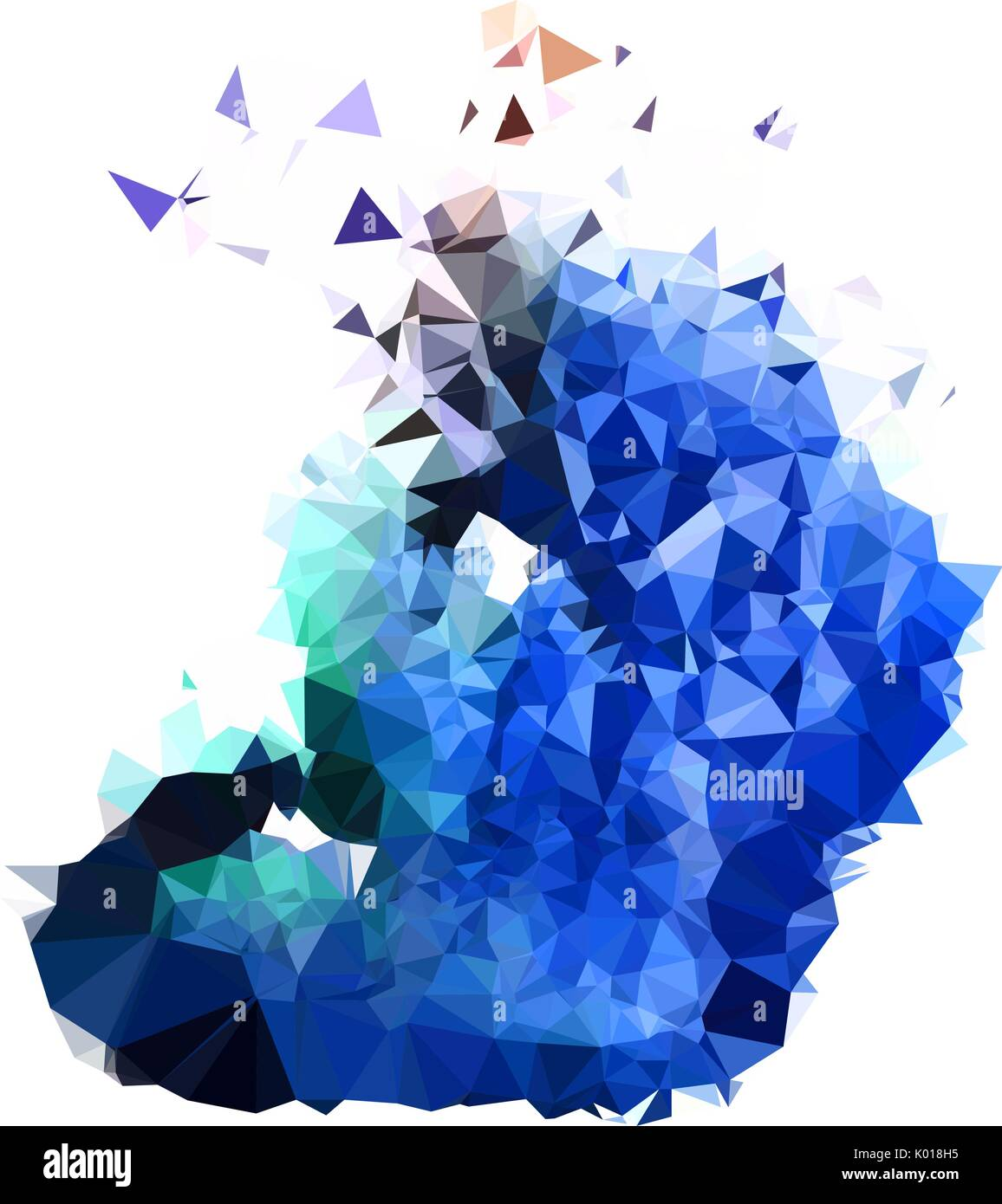 Abstract color splash shape. Triangulated geometric low ...