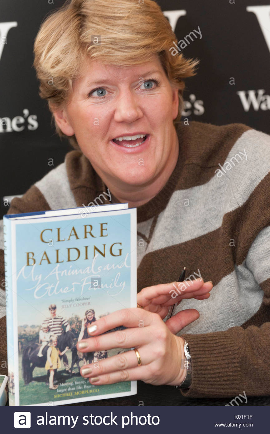 """Clare Balding. Clare Balding signs her new book """"My Animals and Other Family""""  at Waterstones in Chiswick, London."""