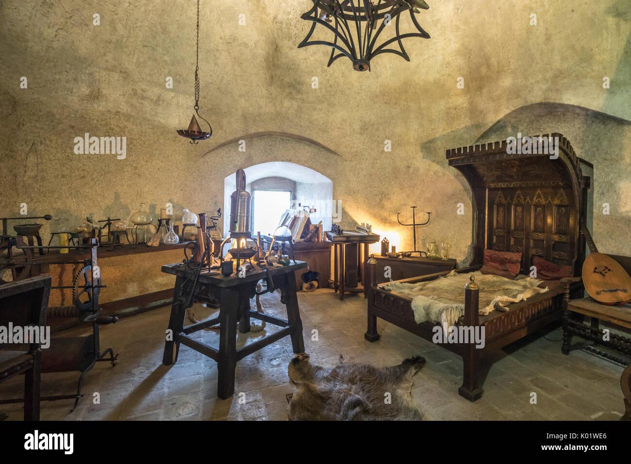. Ancient bedroom and furniture inside Prague Castle Czech Republic