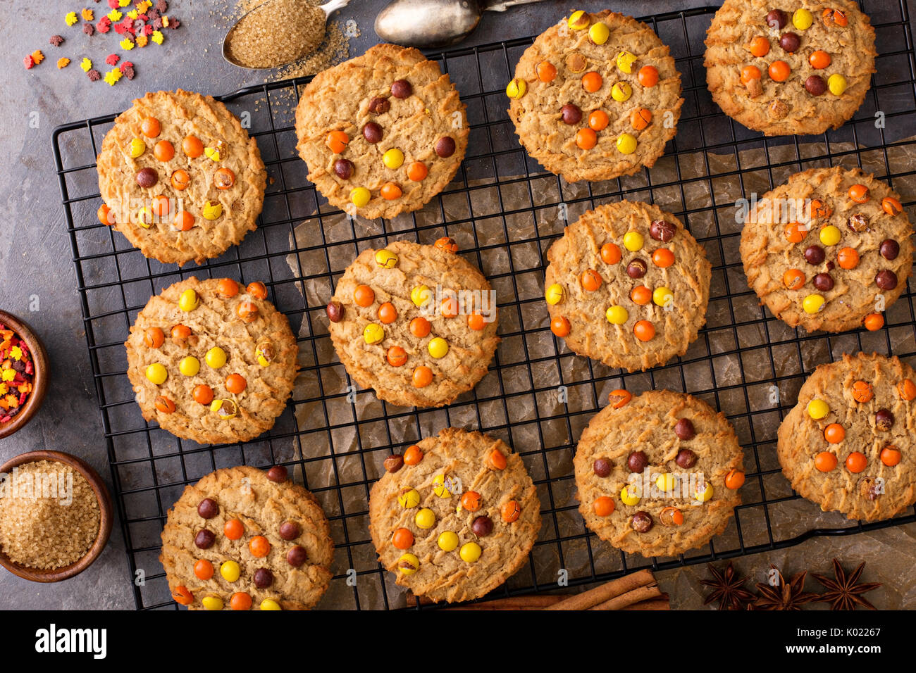 Fall cookies with candy - Stock Image