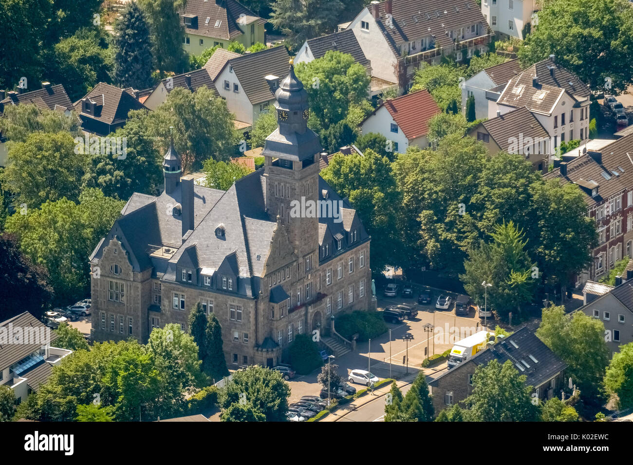 City Council Wetter (Ruhr), Town Hall, a listed secular, Wetter (Ruhr), Ruhr, Nordrhein-Westfalen, Germany, Europe, Hagen, aerial view, aerial view, a - Stock Image
