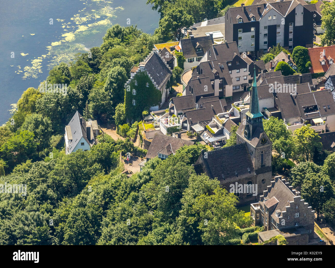Freedom weather, keep of the castle weather with the neighboring timbered area of freedom, waterweed species Elodea Stock Photo