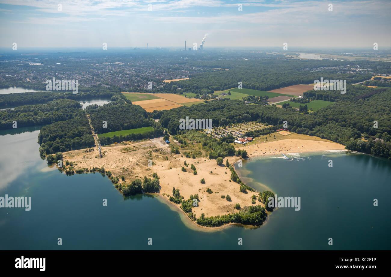 Beach Tenderingssee with the lido and sandbanks in the lake, Voerde (Niederrhein), Ruhr, Nordrhein-Westfalen, Germany, Europe, Aerial View, Aerial, ae - Stock Image